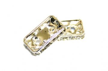 100pcs x 12mm*8mm*4mm Silver Plated clear Stones / Rhinestone spacer with 2 holes - rectangular shape  - S.D05